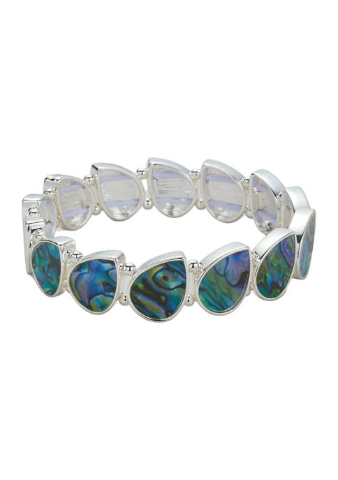 Belk Silver Tone Abalone Pear Stretch Bracelet