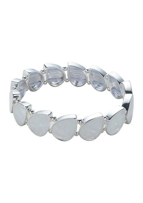 Kim Rogers® Silver Tone White Pear Stretch Bracelet