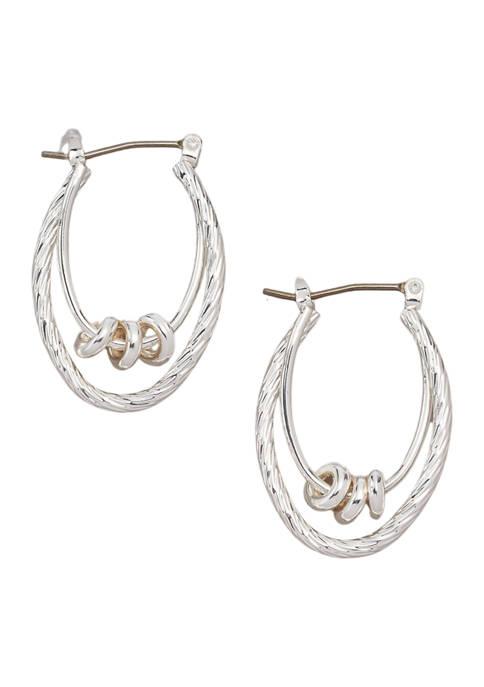 Kim Rogers® Silver Tone Double Rondelle Hoop Earrings