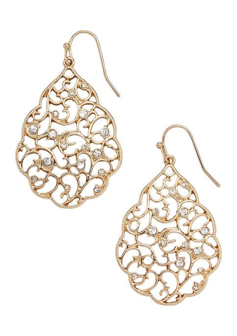 Kim Rogers® Gold Tone Filiagree Drop Earrings