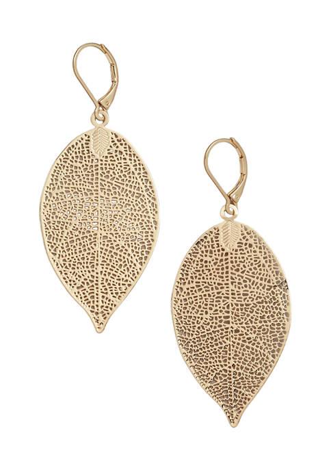 Kim Rogers® Gold Tone Leaf Filigree Drop Earrings