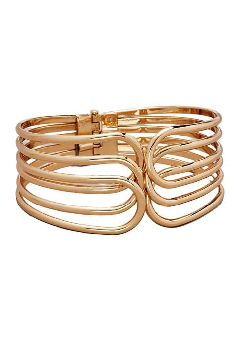 Kim Rogers® Gold Tone Multi Hinge Bangle Bracelet