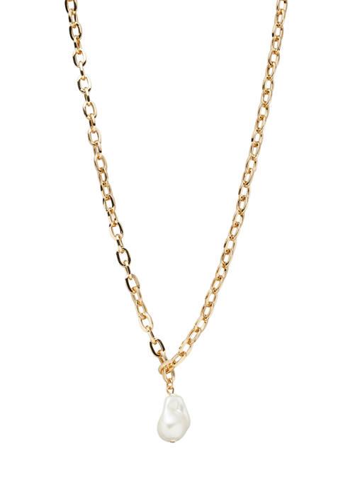 Kim Rogers® Gold Tone White Organic Pearl 16