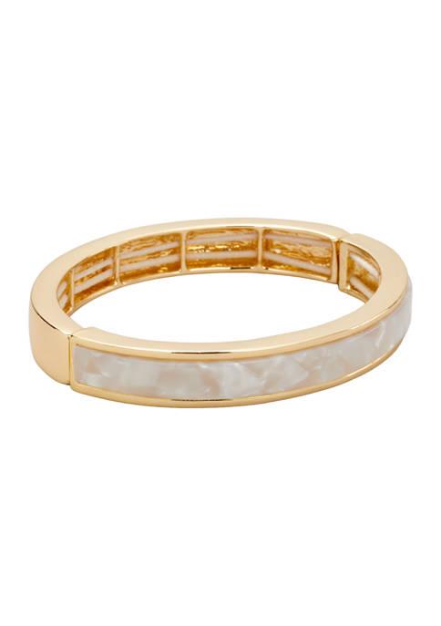 Kim Rogers® Gold Tone White Inlay Stretch Bracelet