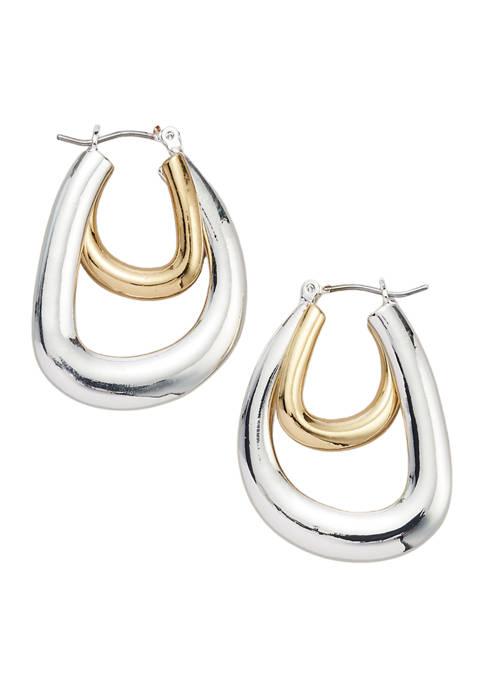 Belk Two Tone Double Hoop Earrings