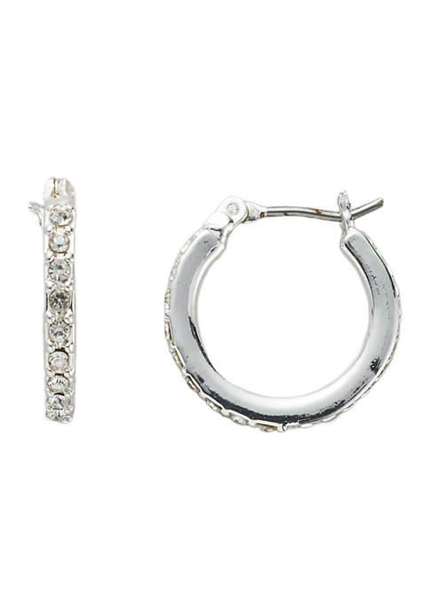 Belk Silver Tone Crystal Pavé Huggie Hoop Earrings