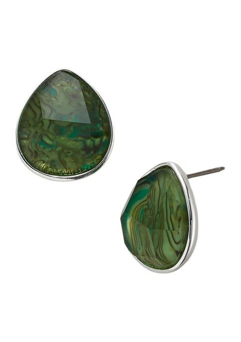 Belk Pear Button Green Abalone Silver Tone Earrings
