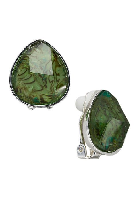 Belk Silver Tone Green Abalone Pear Button Clip