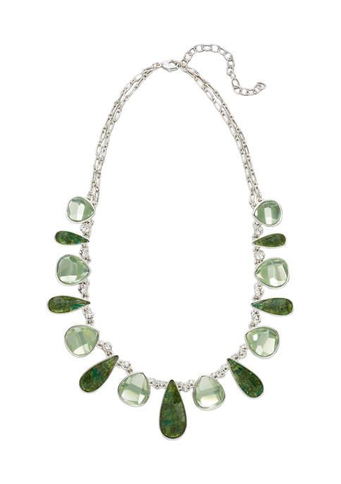 Belk Silver Tone Green 16 Inch Teardrop/Pear Stone