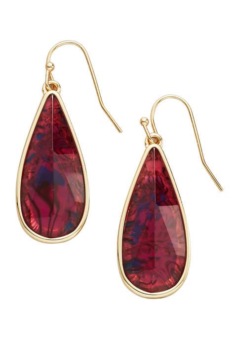 Belk Gold Tone Abalone Teardrop Earrings