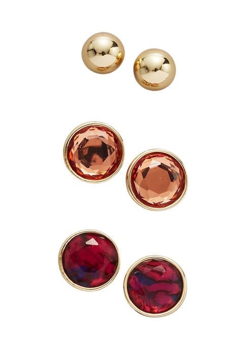 Belk Gold Tone Red Post Button Trio Earring