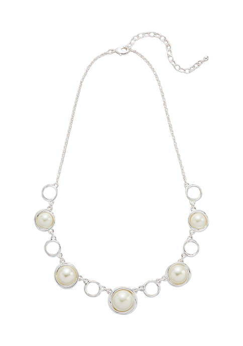 Belk Silver Tone 16 Inch Pearl Frontal Necklace