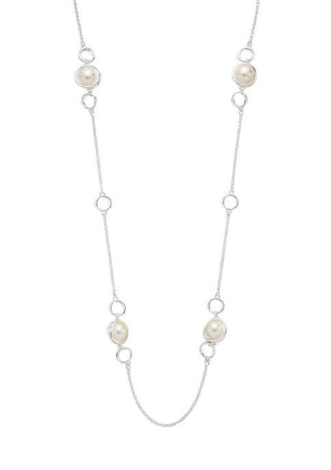 Belk Silver Tone 36 Inch Set Pearl Necklace