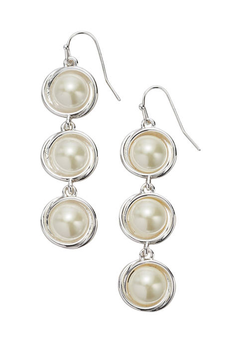 Belk Silver Tone Pearl Cabochon Linear Triple Drop
