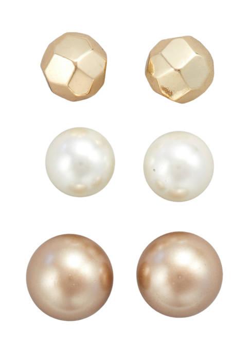 Kim Rogers® Gold Tone Champagne Pearl Multi Post
