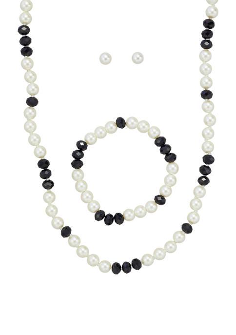 Kim Rogers® Gold Tone Jet Pearl Multi Necklace