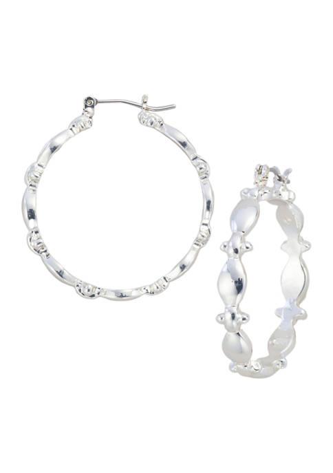 Kim Rogers® Silver Tone Open Navette Hoop Pierced