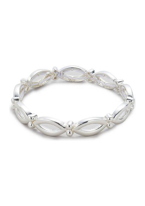 Kim Rogers® Silver Tone Open Navette Stretch Bracelet