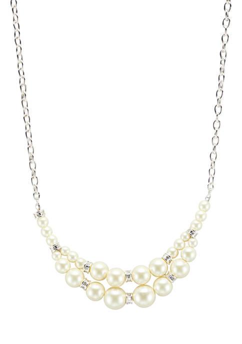 Kim Rogers® Silver Tone White Pearl 16+3 Inch