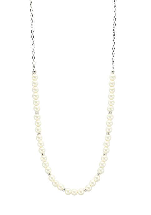 Kim Rogers® Silver Tone White Pearl 36 Inch