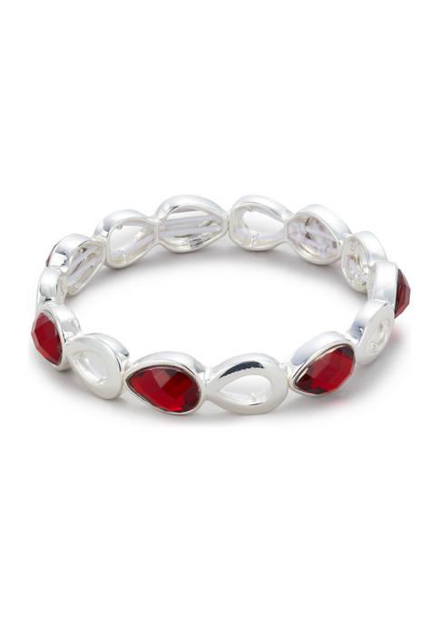 Kim Rogers® Silver Tone Siam Stretch Bracelet