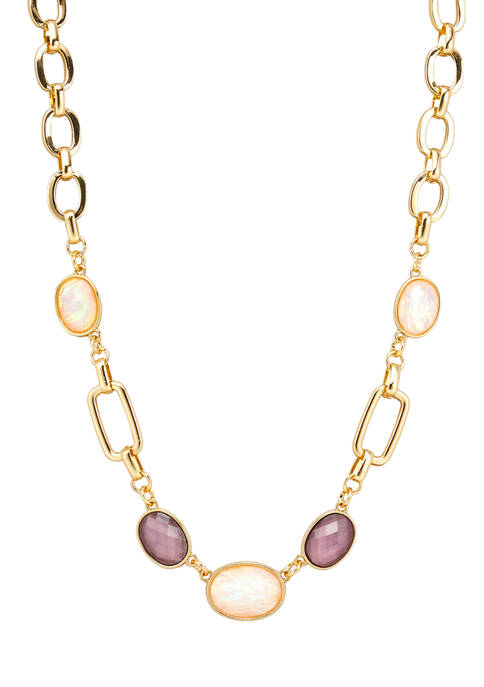 Kim Rogers® Gold Tone Pink Shimmer Amethyst Frontal