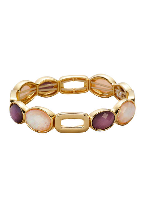 Kim Rogers® Gold Tone Pink Shimmer Amethyst Stretch