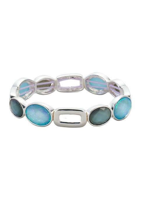 Kim Rogers® Silver Tone Blue Multi Stretch Bracelet