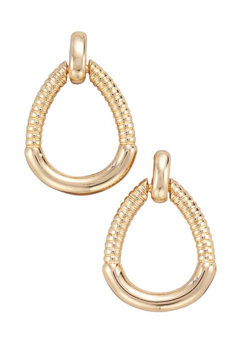 Kim Rogers® Gold Tone Post Doorknocker Drop Pierced