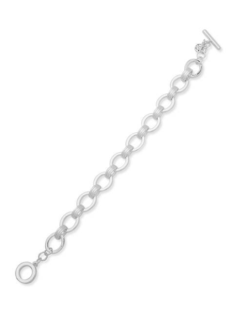 Silver Tone Chain Link Toggle Flex Bracelet