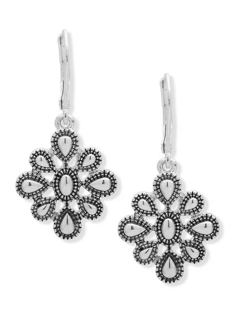 Chaps Silver Tone Metal Flower Drop Earrings