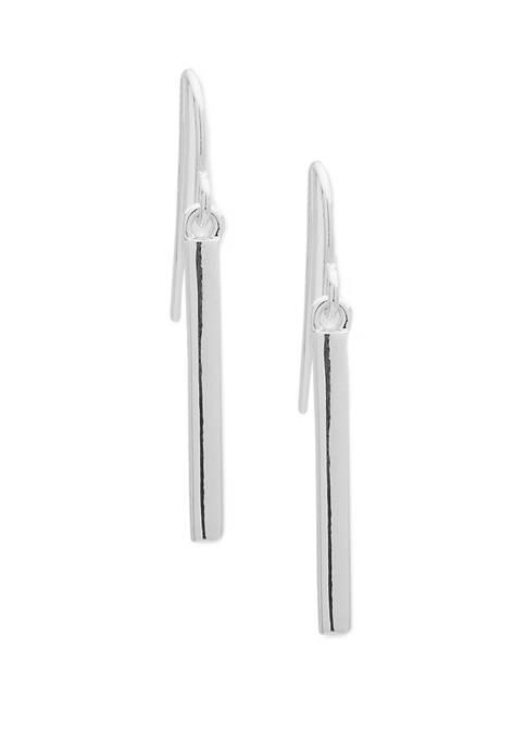 Silver Tone Bar Drop Lever Back Earrings