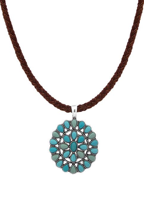 Chaps Silver Tone Concha Cord Pendant Necklace