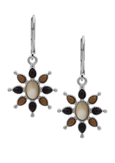 Chaps Silver-Tone Brown Multi Sunburst Drop Earrings