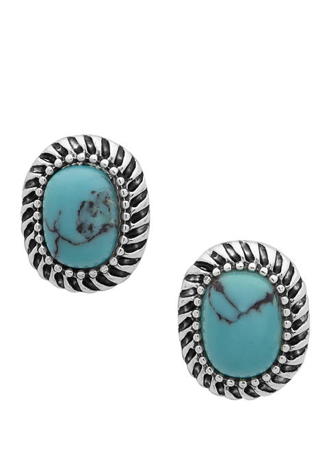 Chaps Silver-Tone Turquoise Oval Stud Earrings