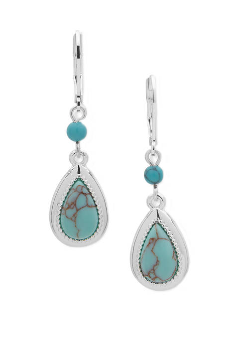 Chaps Silver-Tone Turquoise Teardrop Double Drop Earrings