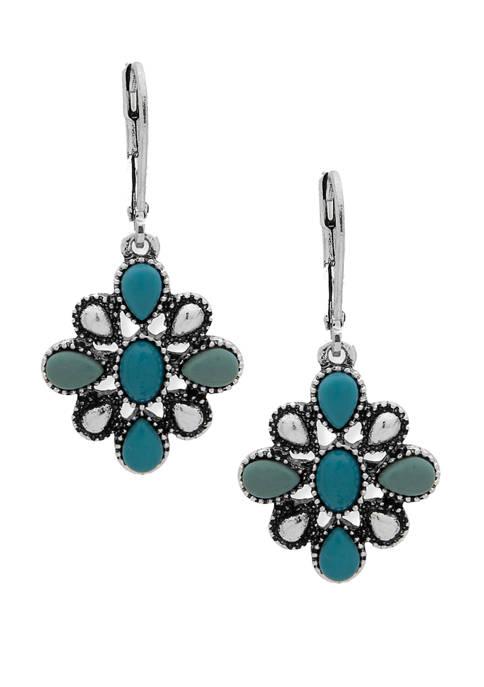 Silver-Tone Turquoise Flower Drop Earrings