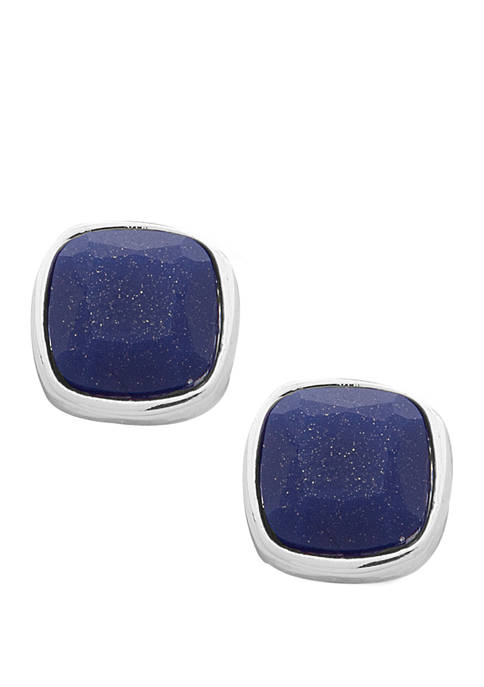 Chaps Silver-Tone Blue Square Stud Earrings