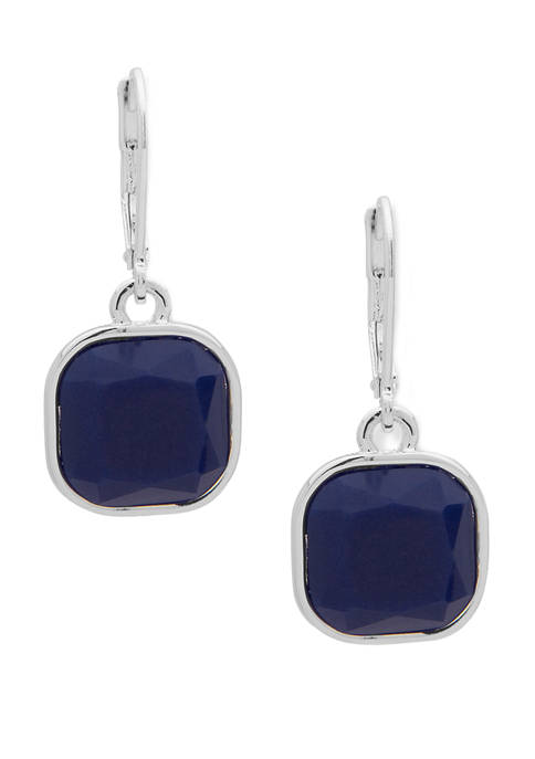 Silver-Tone Blue Square Drop Lever Back Earrings
