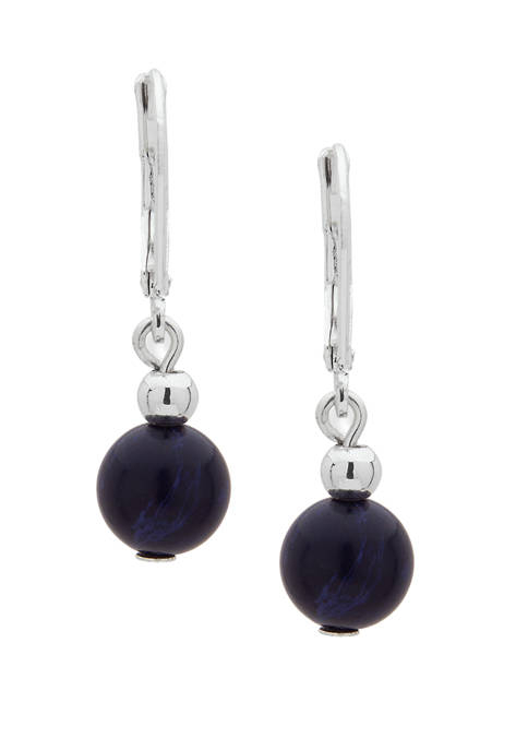 Chaps Silver-Tone Blue Round Double Drop Earrings
