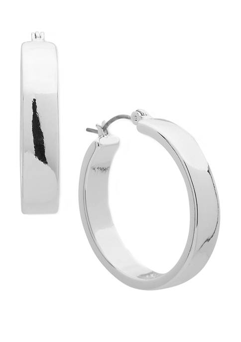 Chaps Silver-Tone Small Clicktop Hoop Earrings