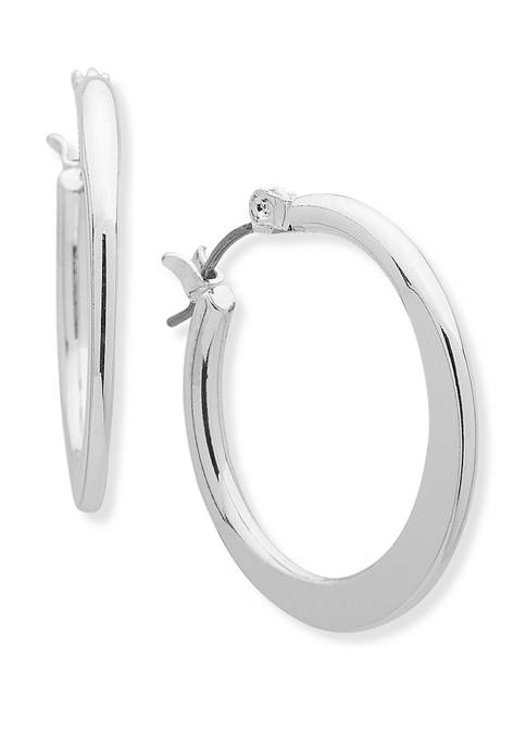Chaps Silver-Tone Traditional Hoop Earrings