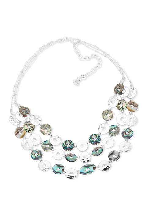 Chaps Silver-Tone Abalone 3 Row Frontal Necklace