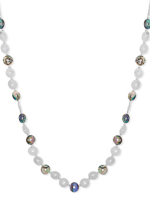 Chaps Silver Tone Abalone Strandage Necklace