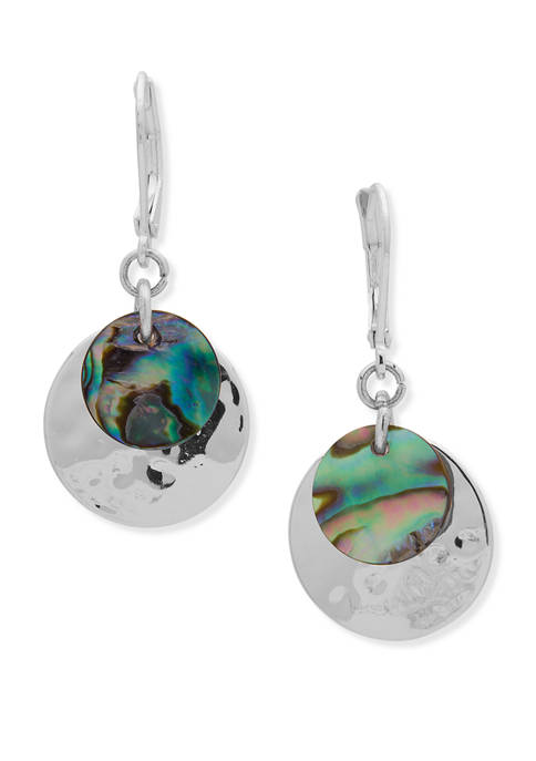 Chaps Silver-Tone Abalone Layered Drop Leverback Earrings