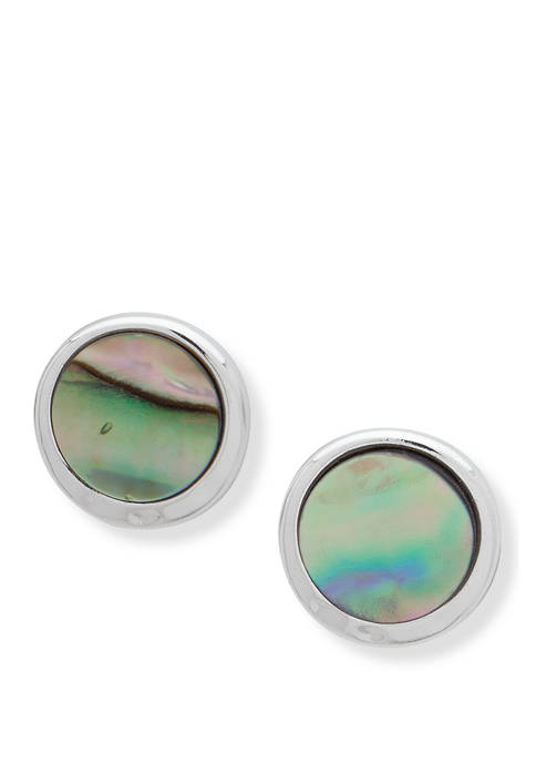 Silver-Tone Abalone Button Stud Earrings