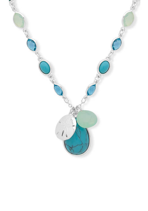 28 Inch Silver-Tone Turquoise Long Pendant Necklace