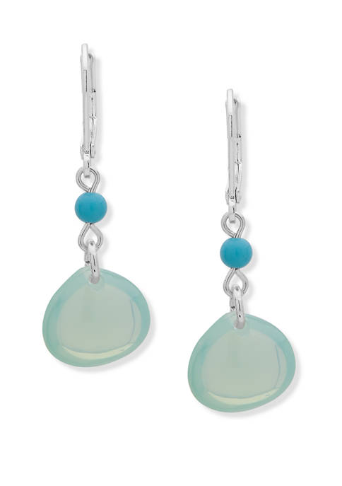 Chaps Silver Tone Turquoise Small Double Drop Earrings
