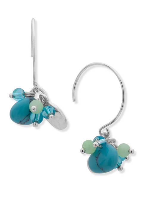 Chaps Silver Tone Turquoise Opal Cluster Drop Wire