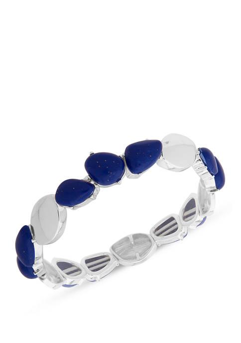 Silver-Tone Blue Stretch Bracelet